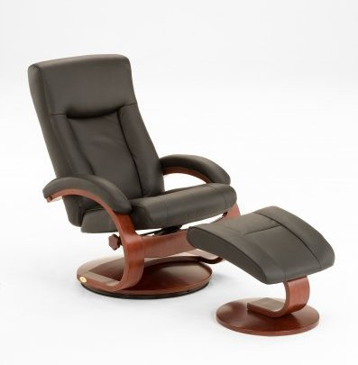 Mac Motion 54-LO3-10-101 Collection Hamar Black Top Grain Leather Oslo Recliner and Ottoman Merlot