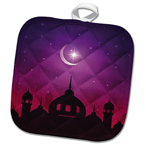 3dRose Sven Herkenrath Religion - Mosque Islam Muslim Islamic with Moon and Purple Background - 8x8 Potholder (phl_280333_1) by 3dRose