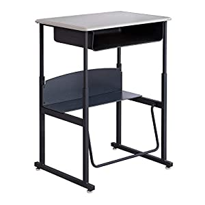 Safco Products AlphaBetter Adjustable-Height Stand-Up Desk, , 28″W x 20″D Standard Desktop, Book Box, Swinging Footrest Bar