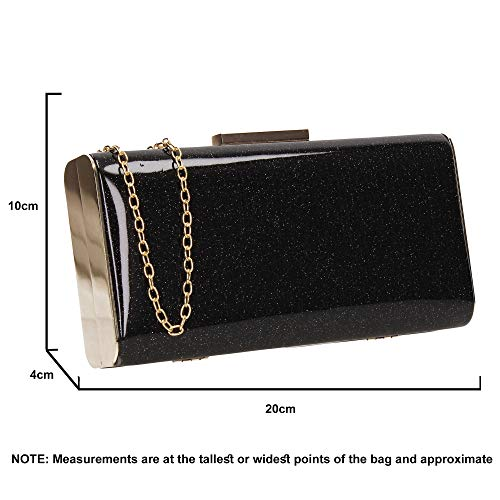 SWANKYSWANS Black Sparkle Melissa Clutch Party Womens Box Bag Prom xxr48gwn