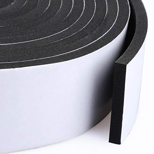 Foam Rubber Seal Strip Tape 2 Rolls 2 Inch Wide X 1/4 Inch Thick, Foam Adhesive Strips Closed Cell Foam Tape Automotive Weather Stripping, Total 13 Feet Long (2 X 6.5 Ft Each)