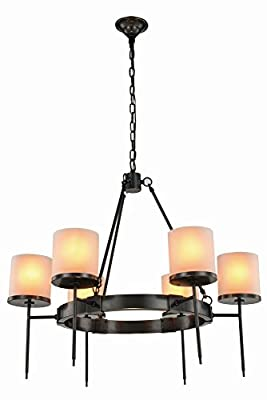 "Elegant Lighting 1504D35BZ Bradford Collection Pendant Lamp D35"" H32"" 6-Light"