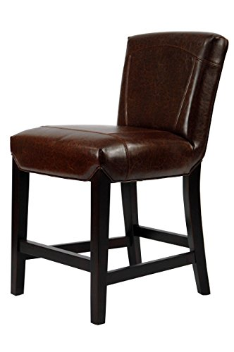 Hudson 24 Bar Stool - Safavieh Hudson Collection Ken Brown Leather 23.8-inch Counter Stool