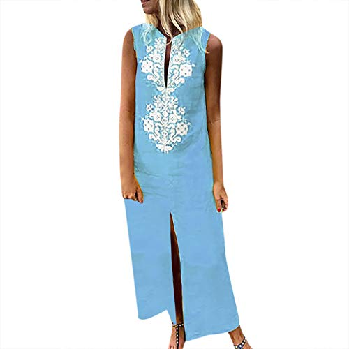 Toimothcn Women's Vintage Maxi Dress Boho Printed Sleeveless V-Neck Hem Baggy Kaftan Dresses(Blue,S)