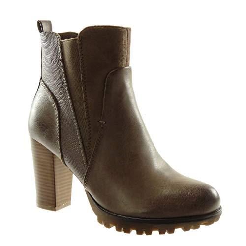 Angkorly - Women's Fashion Shoes Ankle Boots - Booty - Chelsea Boots - bi Material - Platform - Snakeskin - Elastic Block high Heel 9 cm Khaki