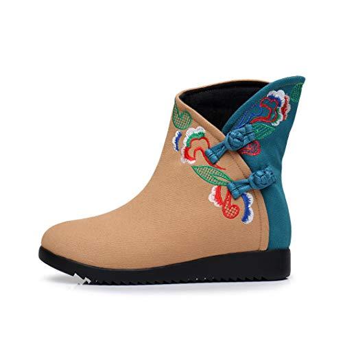 Redondo Fiesta Cheongsam Noche Pie Mujer Y Para De Yan Dedo Goma Algodón Tradicional Segundo Botas Suela Del Zapatos Tobillo Cuñas Correa Con RaqHwfxTHC