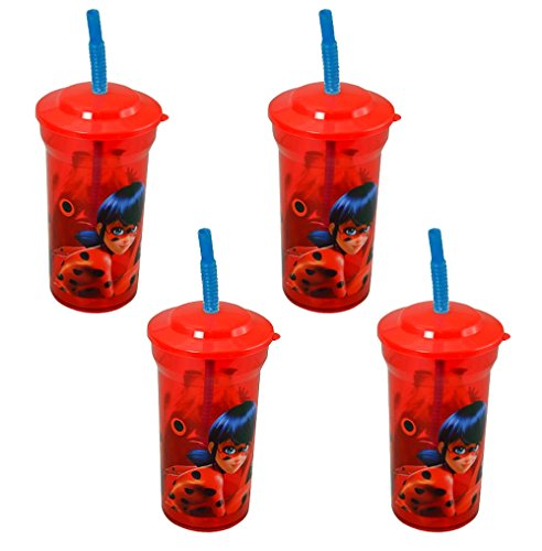 4-Pack Miraculous Ladybug 16oz Sports Tumbler Cups with Lids & Straws