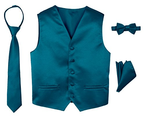 Spring Notion Boys' 4-Piece Satin Tuxedo Vest Set 5 Teal (Colors Tuxedo Vest)