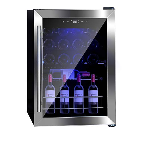 SMETA Compressor Wine Cooler 19 Bottle Freestanding LED Touchscreen Wine Cooler Refrigerator, Black and Stainless Steel
