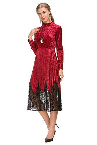 (Le Vonfort Pleated Velvet Midi Dress for Juniors, Long Sleeve High Neck Retro Soild Color Ball Gathering Party Dresses Wine Small)