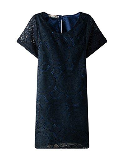 Bestgift Manches Courtes Femmes Évider Bleu Marine Mini Robe De Couleur Unie