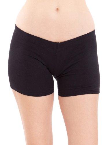 Ladies Black Cotton Spandex Comfort Tights Shorts