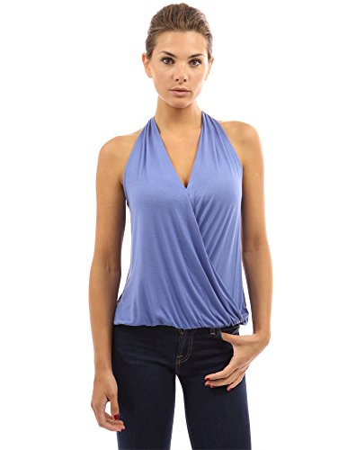 PattyBoutik Women's Drape Wrap Elastic Hem Tank Top (Blue S)