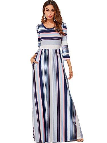 41d96457cc69 Milumia Women s Casual Long Sleeve Elastic Waist Striped Maxi Dress with  Pockets