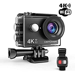 DBPOWER D2 4K Action Camera 12MP Ultra HD Waterproof Sports Cam with Built-in WiFi 2 Inch LCD Screen Plus 1050mAh…