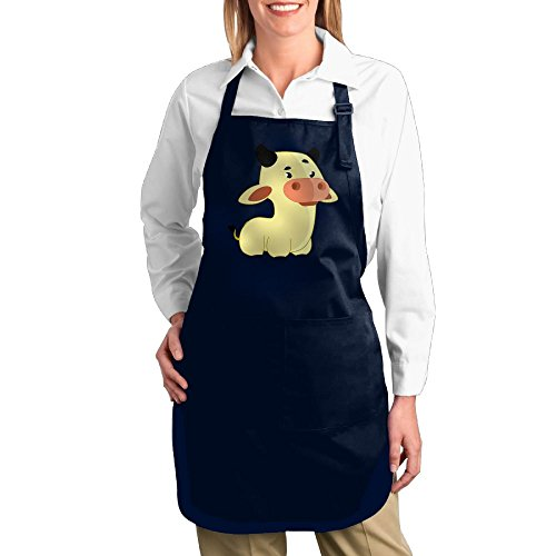 Fat Lady Devil Costume (Dogquxio Cute Cow Kitchen Helper Professional Bib Apron With 2 Pockets For Women Men Adults Navy)