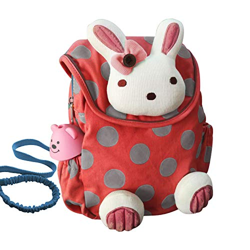 Labebe Toddler Backpack with Harness, Red Backpack with Bunny for Kid of 1-3 Years, Anti-Lost Backpack with Anti-Lost Leash/Toddler Girl Backpack/Snack Bag Kid/Harness Backpack/Bunny Ears Backpack