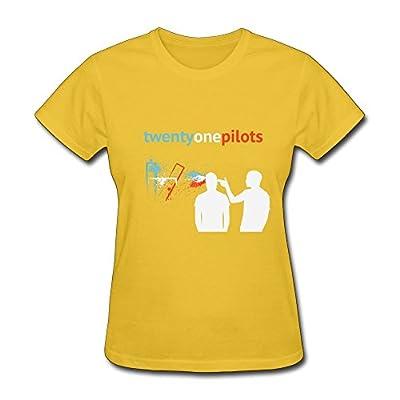 SHUNAN Women's Twenty One Pilots T-shirt Size L Yellow