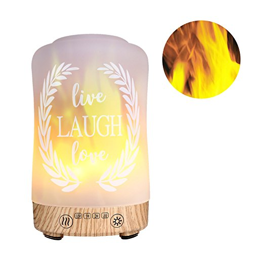 Aromatic Essential Oil Diffuser COOSA 100ML Glass Super-Quiet Ultrasonic Cool Mist Humidifier with Flame Led Lamp Light Waterless Auto Shut-off for Baby Home Office Yoga Spa