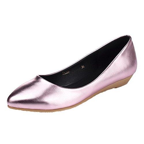 AllhqFashion Damen Ziehen auf Spitz Zehe Niedriger Absatz PU Leder Rein Pumps Schuhe Pink