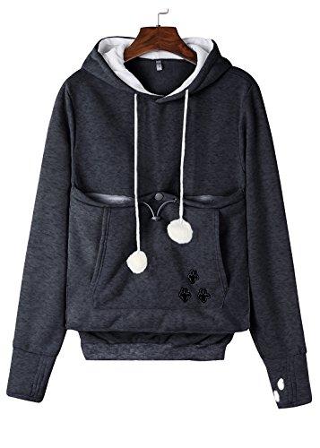 - Anbech Unisex Big Kangaroo Pouch Loose Fleece Hoodie Long Sleeve Pullover Little Pet Cat Dog Holder Carrier Sweatshirts (Dark Gray-Fleece, 3XL)