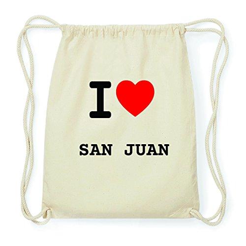 JOllify SAN JUAN Hipster Turnbeutel Tasche Rucksack aus Baumwolle - Farbe: natur Design: I love- Ich liebe 7SlWnvR8j