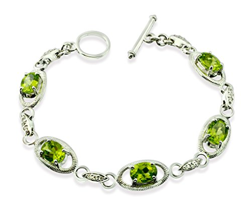 "Sterling Silver 925 TENNIS Bracelet GENUINE PERIDOT 7.5 Cts with RHODIUM-PLATED Finish, 7"" Long (peridot) by RB Gems"