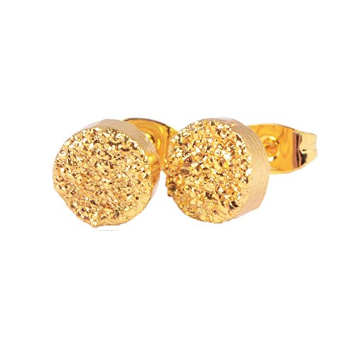 24k Golden Earrings (ZENGORI Gold Plated 8mm Round Natural Agate Titanium Druzy Stud Earrings #G0889 (24K Golden))