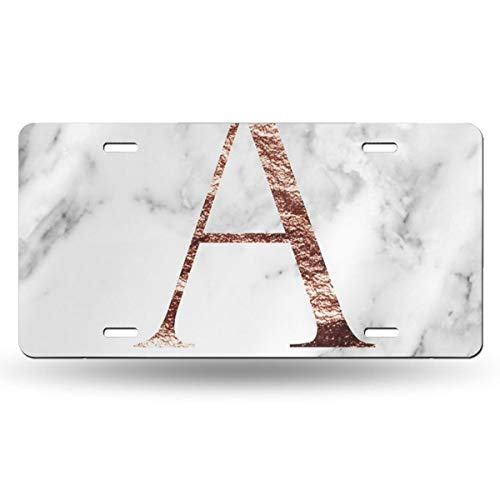 (Poream Monogram Rose Marble A Personalized Novelty Label Aluminum License Plate Cover Protector for All Standard Cars 6