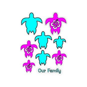 Hawaiian Turtle Family Hibiscus Stickers