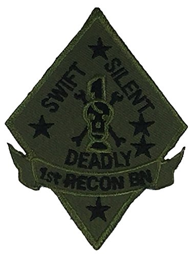 USMC 1ST RECON BATTALION UNIT Patch - OD Green/Black - Veteran Owned Business.