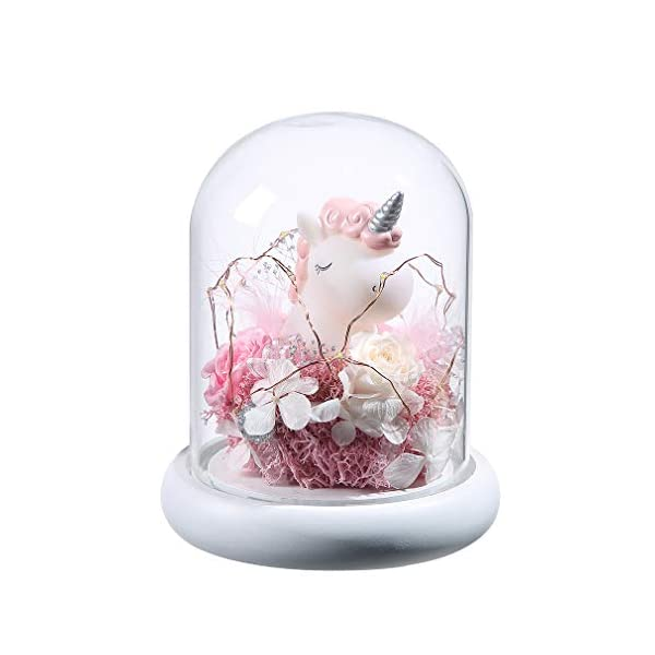 ANLUNOB Enchanted Rose, Elegant Round Glass Cover with LED Light White Base, The Best Gift and Home Decoration, Weddings, Anniversaries, Birthday Gifts