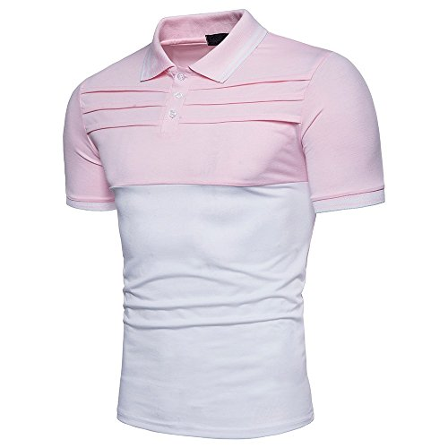 DIOMOR Casual Fashion Color Block Slim Fit Polo Shirts for Men Trendy Short Sleeve Lapel Henleys Tops Work Party Tees Pink