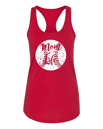 TM-09 Mom Life 1533 Relax Fit Poly Blend Tank Baseball Softball Team Mom Tee Printed Women's (XL, Red)