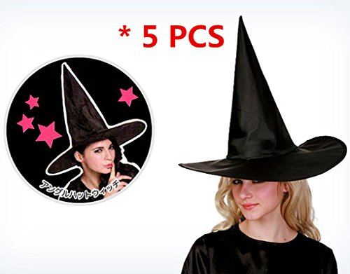 Creazy 2017 Adult Womens Black Witch Hat For Halloween Costume Accessory Cap (5PCS) ()