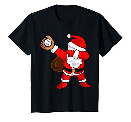 Kids DABBING BASEBALL SANTA | Christmas Funny T Shirt Dab Ball 12 Black -