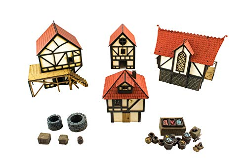 War World Gaming Medieval Town House Set (Painted / unpainted) & Scatter Terrain - 28mm Scale Fantasy Wargame Model Scenery