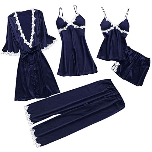 ZoePets Women's Silky Pajamas Satin 5 Piece Robe Sets Lace Up Nightgown Camisole Shorts Sleewear Set Long Pants Sets( Purple,XXL