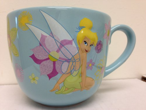 Tinkerbell Glittery Wings - Authentic Disney Exclusive Tinkerbell Tink Glittery Flowered Ceramic Coffee Mug Tinker Bell