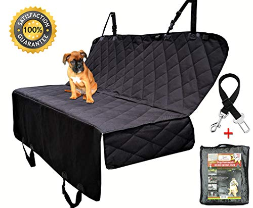 Dog Seat Cover - Hammock - Pet Seats Covers For Cars, Trucks & SUV's - Heavy Duty & Waterproof with Side flaps & A Free Safety Seat Belt