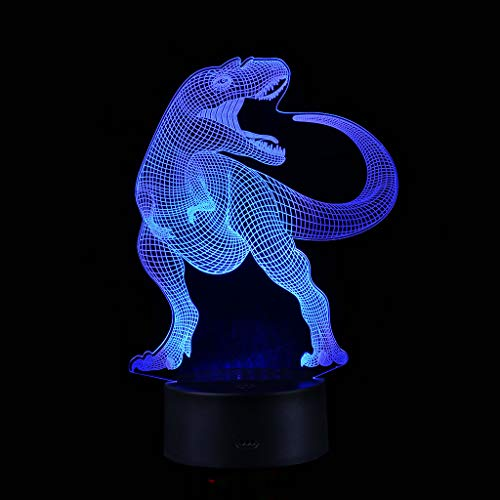 Gbell Boys Dinosaur Desk Night Light with 7 Color Changing - LED 3D Illuminated Dinosaur Lamp Optical Illusion Night Light for Boys Girls Adutls,USB Power Touch Control (Black)
