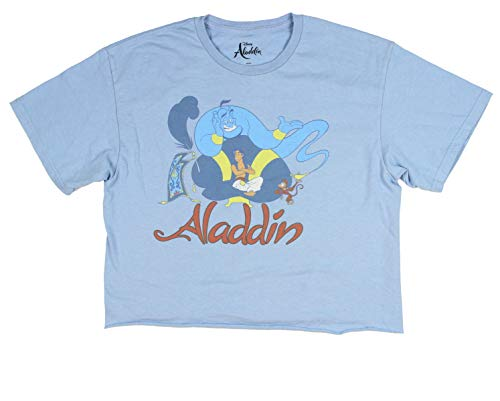 Disney Aladdin Shirt Womens' Genie Wish Cuttoff Crop Top (Small) Light Blue