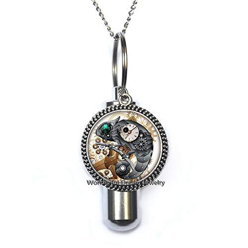 Waozshangu Green Eye Lizard Glass Cremation URN Necklace, Gecko Round Glass Dome URN Mechanical Clock Cremation URN Necklace Jewelry,PU141