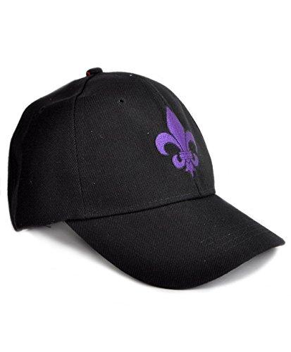 Mardi Gras Baseball (Purple Fleur de Lis Unisex Black Baseball)