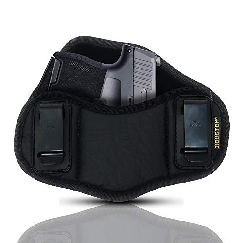 (Tactical Pancake Gun Holster Houston - ECO Leather Concealed Carry Soft Material | Suede Interior for Protection | IWB | Right Hand | Fits: Glock 42 43 | Kahr 9mm)