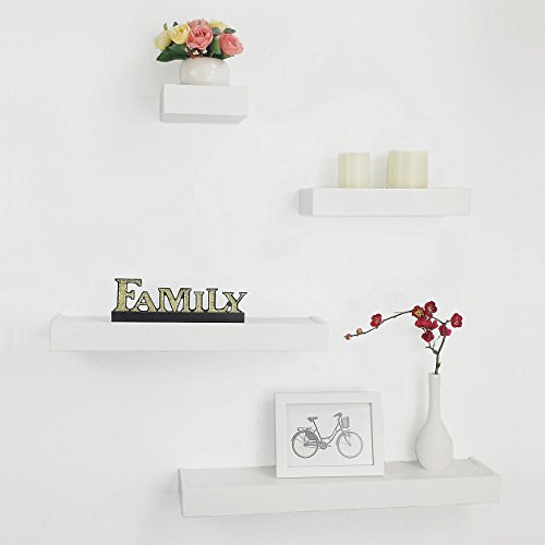 HAO ALWAYS DO BETTER Floating Wall Mount Modern Ledge Shelves, Set of 4, 6
