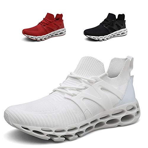 Noblespirit Men's Classic Lace-up Sneaker Fashion Abrasion Youth Big Boys Low-top Soft Sole Outdoor Sports Trail Running Shoe Lightweight Walking Shoes for Men NSRS9601-Wh43 White