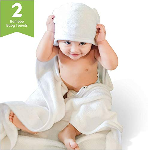Bamboo Baby Towel by Taro Patch Kids - Set of 2 XL White Luxury Soft Hooded Natural Bath Towels - Great to Wrap up Newborns & Toddlers - Boys & Girls - Perfect for Shower, Beach, Pool, Gift, Travel