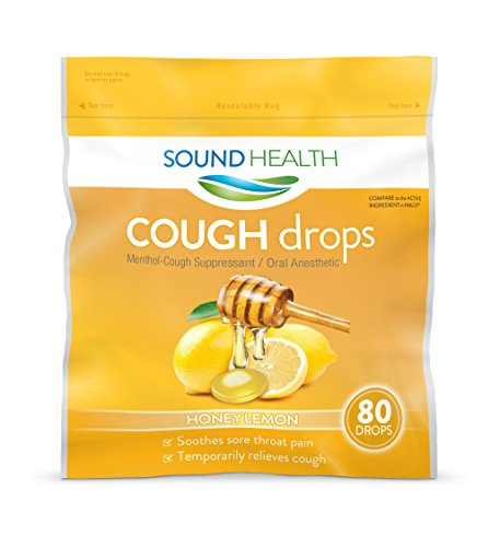 SoundHealth Honey Lemon Cough Drops, Lozenge, Cough Suppressant, 80 Count Single Bag