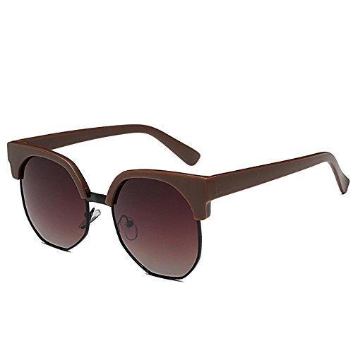 Aoligei Verres à lunettes de soleil Chao personnes irrégulières ronde demi cadre lunettes de soleil femme everbright biais boîte lunettes RShnU7g4Gs